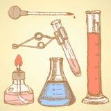 Produto químico do esboço ajustado no estilo do vintage Imagem de Stock Royalty Free