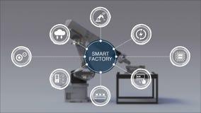 Produto a usar o braço do robô na fábrica esperta Ícone esperto cercado do gráfico da informação da fábrica Internet das coisas ilustração do vetor