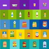 Produtos alimentares e grupo liso dos ícones do vetor das bebidas ilustração stock
