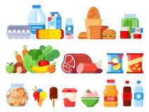 Produtos alimentares Embalado cozinhando o produto, os bens do supermercado e as conservas alimentares O frasco, o chantiliy e os ilustração royalty free