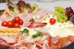 Produtos arranjados da carne e dos chees Foto de Stock Royalty Free