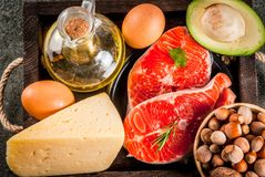 Produtos com gorduras saudáveis Foto de Stock