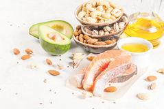 Produtos com gorduras saudáveis imagens de stock