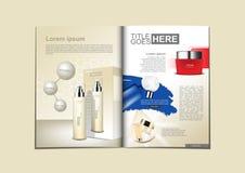 Produtos cosméticos brancos, azuis e vermelhos para o folheto ou o catálogo ilustração stock