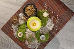 Produtos da natureza dos termas Sal do mar, camomila, sabão e óleo aromático Imagem de Stock Royalty Free