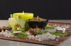 Produtos da natureza dos termas Sal do mar, camomila, sabão e óleo aromático Imagens de Stock Royalty Free