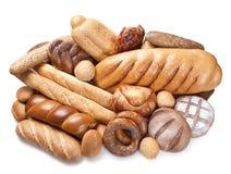 Produtos da padaria no branco Fotos de Stock