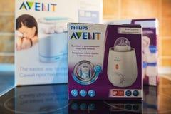 Produtos de alimentação do bebê de Philips Avent foto de stock