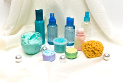 Produtos de beleza azuis Foto de Stock
