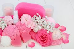 Produtos de beleza dos termas e do banheiro Imagem de Stock Royalty Free
