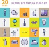 Produtos de beleza e ícones da composição ajustados Fotografia de Stock
