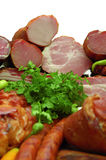 Produtos de carne fumados Fotografia de Stock Royalty Free