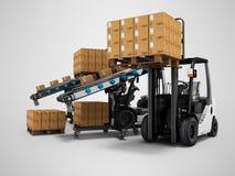 Produtos de carregamento modernos da empilhadeira nas caixas de papel nas páletes de madeira 3d para render no fundo cinzento com ilustração stock