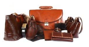 Produtos de couro Fotografia de Stock