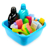 Produtos de higiene na bacia Fotografia de Stock