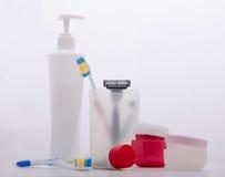 Produtos de higiene pessoal ajustados Fotografia de Stock