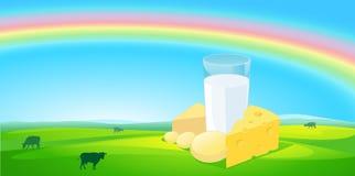 Produtos de leite com fundo natural do arco-íris - vetor Fotografia de Stock Royalty Free