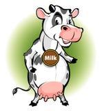 Produtos de leite de vaca da mascote sob a forma de uma vaca com um estilo dos desenhos animados Foto de Stock