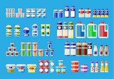 Produtos de leite em vários pacotes ilustração stock