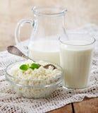 Produtos de leite frescos Fotos de Stock