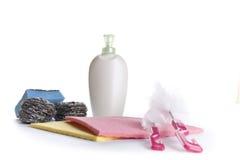 Produtos de limpeza isolados no branco Fotografia de Stock
