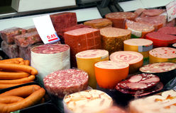 Produtos de salsicha alemães Fotografia de Stock Royalty Free