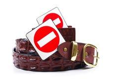 Produtos do crocodilo e sinais da parada Imagem de Stock