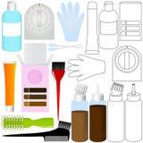Produtos do jogo da coloração de cabelo Imagens de Stock
