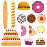 Produtos do pão e da padaria Pão, bolo, bolo, filhós, cookies, pizza Foto de Stock