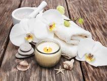 Produtos dos termas com orquídeas Foto de Stock Royalty Free