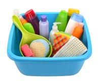 Produtos e bacia de higiene Imagens de Stock Royalty Free