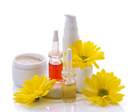 Produtos e flores dos cosméticos Fotografia de Stock