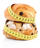Produtos franceses da padaria com fita de medição Imagens de Stock