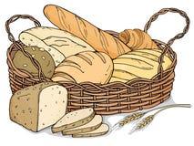 Produtos frescos da padaria em uma cesta de vime Ilustração do vetor no estilo do esboço Fotografia de Stock Royalty Free