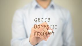Produtos internos brutos, GDP, escrita do homem na tela transparente Imagem de Stock Royalty Free
