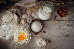 Produtos lácteos frescos Leite, requeijão, creme de leite e trigo imagens de stock