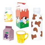 Produtos lácteos isolados ilustração do vetor