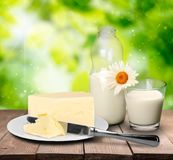 Produtos láteos, leite fresco e queijo isolados sobre Fotos de Stock