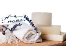 Produtos para o banho, os TERMAS, o bem-estar e a higiene,  Imagem de Stock