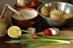Produtos para a salada de batatas Fotografia de Stock