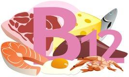 Produtos que contêm a vitamina B12 Imagem de Stock Royalty Free