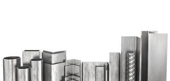 Produtos rolados Perfis de aço e tubos 3d ilustração royalty free
