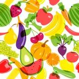 Produtos sem emenda do vegetariano do fundo Ilustração do vetor Imagens de Stock