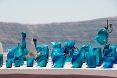 Produtos vidreiros azuis decorativos feitos a mão Foto de Stock Royalty Free