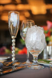 Produtos vidreiros com gelo Fotografia de Stock