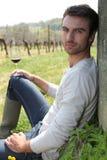Produttore del vino con vino Fotografia Stock Libera da Diritti