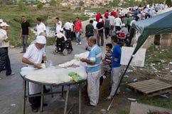 Produza vendedores no festival turco da luta romana do óleo de Kirkpinar em Edirne, Turquia Fotografia de Stock Royalty Free