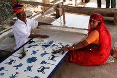 Produzieren eines indischen Teppichs Stockfotos