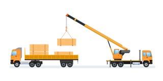 Produzione del legno e silvicoltura Caricando e trasportando le merci illustrazione di stock