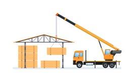 Produzione del legno, silvicoltura Macchina per il carico e lo scarico nel magazzino illustrazione vettoriale
